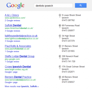 Google Local Search Dentist Ipswich
