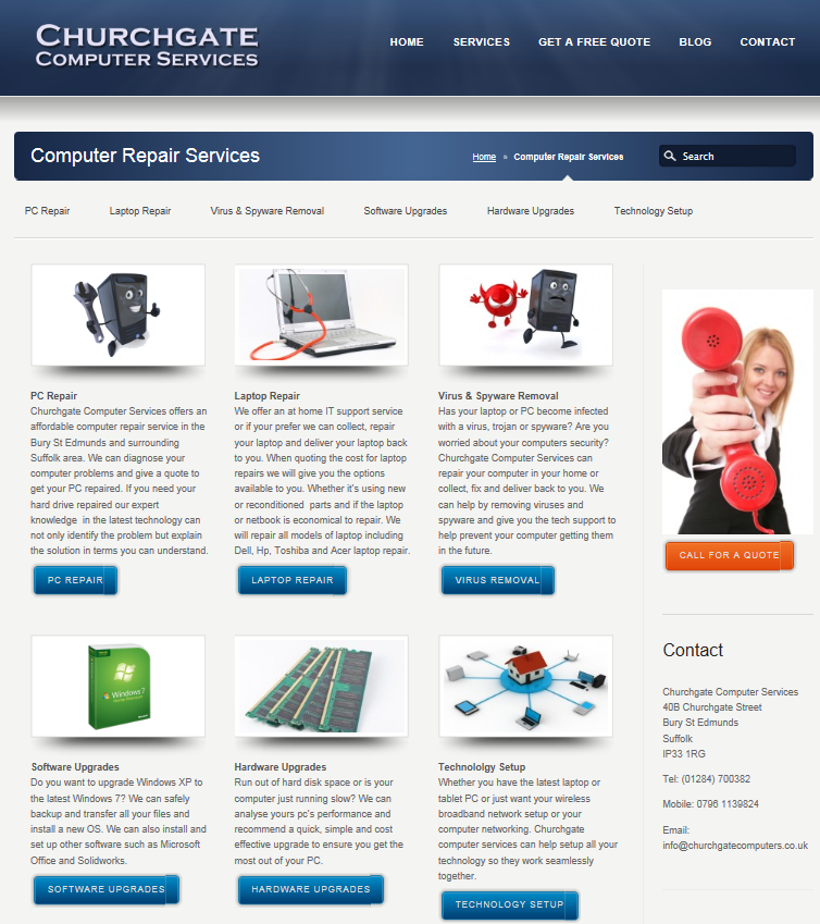 Website Design for Churchgate Computer Services
